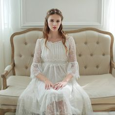 2016High Quality Nightgown White Lace Long Dress Home wear Bridesmaid Party Vintage Cute Girl Vestidos Woman Ankle-length