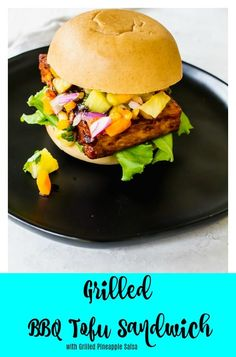 Grilled BBQ Tofu Sandwich with Pineapple Salsa - This sandwich will make vegans and meat eaters drool with excitement. Slather on some bbq sauce, top your grilled tofu with a pineapple salsa and prepare your mouth for an on slot of amazing flavors! Best Gluten Free Recipes, Tofu Recipes, Vegetarian Recipes, Tofu Sandwich, Bbq Tofu, Grilled Tofu, Vegetarian Grilling, Pineapple Salsa, Bbq Ideas