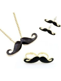 Mustache Jewelry Set, Necklace Pendant Earrings Double Moustache Ring - 4 Pieces ❤ BodyJ4You