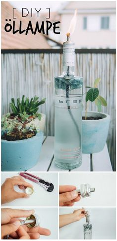 DIY Idee! Öllampe für weniger als 5 EUR aus Weinflasche selber machen. DIY Anleitung Deutsch | DIY Dekoration für Garten, Balkon und Terrasse | DIY Blog | Bree Wein |