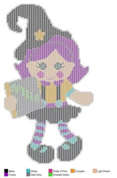 Sew Sweet Doll Little Witch holding spell book - Plastic Canvas Plastic Canvas Books, Plastic Canvas Christmas, Plastic Canvas Crafts, Plastic Canvas Patterns, Halloween Canvas, Halloween Crafts, Fall Crafts, Cross Stitch Charts, Cross Stitch Patterns