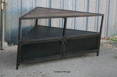 Corner Unit/tv Stand. Vintage/modern Industrial, Mid Century. Steel & Reclaimed…