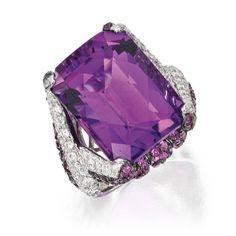 18 karat gold, amethyst and diamond ring.