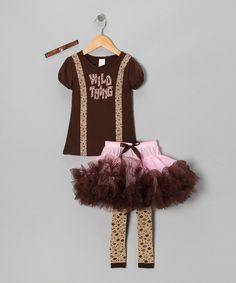 Take a look at this Brown & Pink 'Wild Thing' Dress-Up Set - Toddler & Girls on zulily today!
