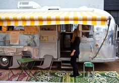 Love the yellow stripe annex awning Photography: Josie Withers, Grub Food Van, Airstream
