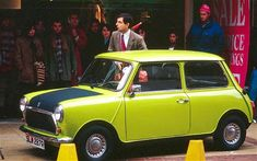 Austin Mini, Mr Bean The bright green 1,000cc Mini was the perfect foil for Rowan Atkinson's mute comic creation. His first car had been an orange 1969 Mini, but the 1976 model has become synonymous with Bean's slapstick exploits