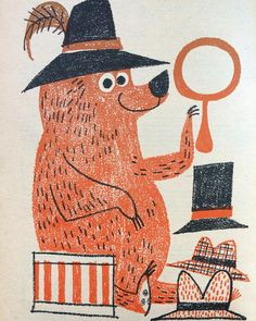 """At last Johnny Big Bear found a hat that was just right!"" . . Illustration by Tom Knitch from Humpty Dumpty's Magazine for Little Children, October 1959."
