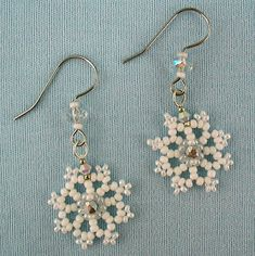 Free Beaded Earring Patterns | ... earrings in white crystal and beaded snowflake earrings pattern
