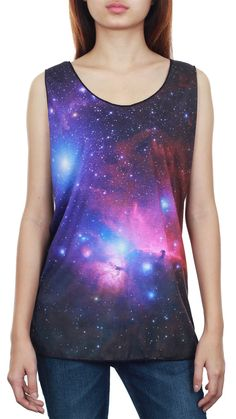 SALE - Galaxy Tank Galaxy Shirt Galaxy Pink Blue Cosmic Universe Space Black Tank Top Women Top Vest Tunic Women T-Shirt SGBT32 Size M