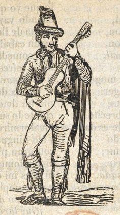Xilografía en cabecera de un hombre de pie con sombrero y patillas largas, tocando la guitarra.