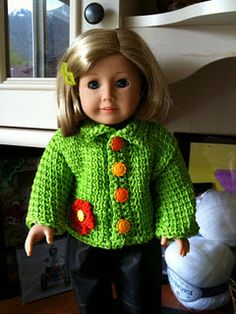 back to school crochet doll jacket for American Girl dolls- love the different colored buttons (this one has the pattern)