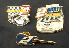 NASCAR Rusty Wallace Set of Three Lapel Pins Hat Pins
