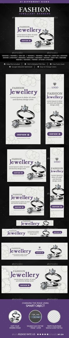 Fashion Jewellery Banners Template #design Download: http://graphicriver.net/item/fashion-jewellery-banners/11214469?ref=ksioks