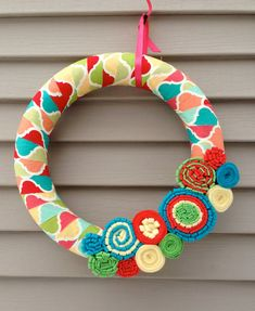 Spring Wreath  Multi Color Fabric Decorated w/ by stringnthings