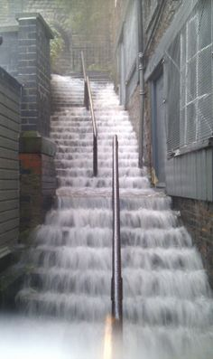 The Stairs at Castle Keep, Newcastle Upon Tyne during a Storm