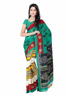 Petra Fab Light Green Colored Georgette Printed Saree @ Rs. 335 Only