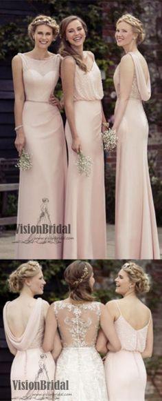 2018 Pink Mismatched Sexy Chiffon A-Line Long Bridesmaid Dresses, Bridesmaid Dresses, VB0409 #bridesmaiddresses #bridesmaiddress