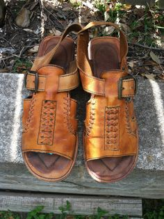 1970s men's Thom McAn tan leather hippie sandals with wooden sole on Etsy, $33.00