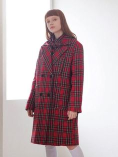 Four Pocket Check Coat Red Check