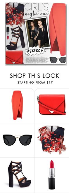 """Girls Night Out"" by anilovic ❤ liked on Polyvore featuring C/MEO COLLECTIVE, Alexander Wang, Quay, Clover Canyon, Aquazzura, MAC Cosmetics and girlsnightout"