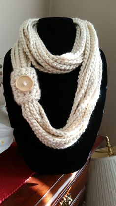 Cream Infinity Scarf with Tan Button Accessory by SittisHands $22.00 plus shipping