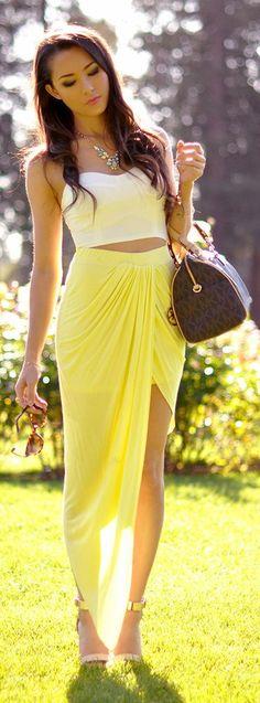 Posh Shop Yellow Asymmetrical Draped Skirt