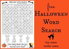 Boy Mama Teacher Mama: FREE Halloween Word Search