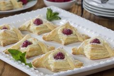Thanks to shortcuts like frozen puff pastry, we& able to make jaw-dropping pastries like our Raspberry Cream Danish. These are filled with a homemade cream cheese filling, which makes them extra-special. Cream Cheese Puff Pastry, Frozen Puff Pastry, Cream Cheese Filling, Whole Food Recipes, Dessert Recipes, Cooking Recipes, Kitchen Recipes, Easy Desserts, Thing 1