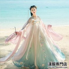 Hanfu Women Embroidery Dress Tops Chest Skirt Long Coat Cosplay Fairy - Ideas of Embroidery Dress Korean Traditional Dress, Traditional Dresses, Desi Wedding Dresses, Lolita Cosplay, Korean Dress, Fantasy Dress, Chinese Clothing, Hanfu, Embroidery Dress