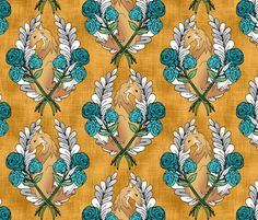 Fox Rose Wreath Gold fabric by pond_ripple on Spoonflower - custom fabric
