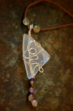 """Wire Wrapped seaglass - """"love"""""""