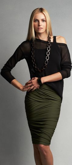 Women fashion clothing @roressclothes outfit style skirt khaki necklace top black shawl blond casual spring summer