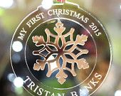 Personalised My First Christmas Tree Decorations Snowflake Bauble Acrylic Christmas 2015, First Christmas, Personalised Christmas Baubles, Christmas Tree Decorations, Snowflakes, Decorative Plates, Handmade Gifts, Etsy, Custom Christmas Ornaments
