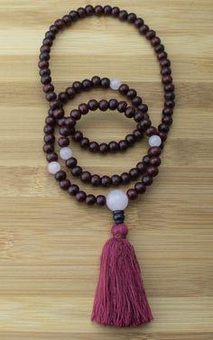 Meditation Mala Beads with Rosewood & Rose Quartz
