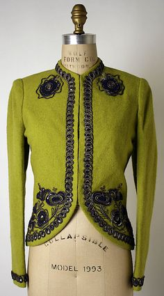 Jacket.  Elsa Schiaparelli  (Italian, 1890–1973).  Department Store: Saks Fifth Avenue (American, founded 1924). Date: 1938. Culture: French. Medium: wool, silk, metallic thread, sequins. Dimensions: Length at CB: 23 3/4 in. (60.3 cm).