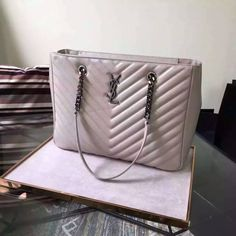 712bec293a6f YSL Sale Store 2016 Cheap YSL Classic Matelasse Leather Tote Bag in White -  2016 New Yves Saint Laurent Tote Bag with metal YSL signature and metal  chain ...