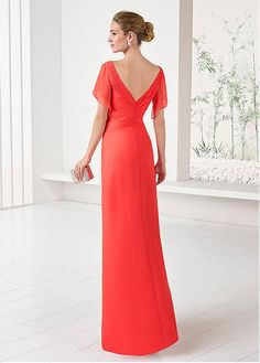 Buy discount Stunning Chiffon V-neck Neckline Illusion Sleeves Sheath/Column Mother Of The Bride Dresses With Beadings at Magbridal.com