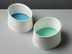 pair of medium bone china vessels with glass, 2008 - Andrea Walsh Ceramics & Glass
