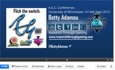 Betty Adamou was invited to present her work using Games for Research at the ASC Conference, London in September 2013. http://www.asc.org.uk/events/previous-events/september-2013