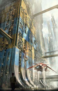 Tagged with cyberpunk; Shared by Cyber punk Cyberpunk City, Futuristic City, Futuristic Architecture, Fantasy Landscape, Sci Fi Fantasy, Fantasy World, Fantasy Art Landscapes, Art Science Fiction, Steampunk