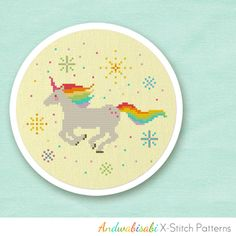Kitschy Digitals :: Sewing & Needlework Patterns :: Rainbow Unicorn Cross-Stitch Pattern
