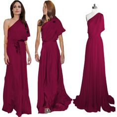 Beautifly Dark Red Chiffon One-shoulder Long Formal Prom Gown Evening Dress « Dress Adds Everyday
