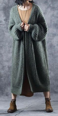 Abrigos de mujer Casual Loose Thicken Woolen Over Coat For Women Maxi Outfits, Casual Outfits, Long Sweater Dress, Sweater Coats, Knit Dress, Fall Fashion Trends, Boho Fashion, Autumn Fashion, Fashion News
