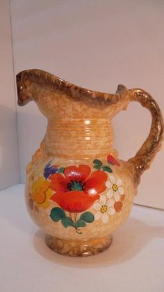 Ditmar Ceramic Works AG, Bohemia Collectible pitcher brown beige poppies Czech