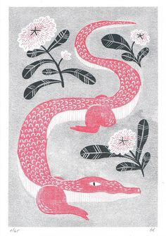 Red Alligator with Flowers // Risograph Art Print // A5 animal