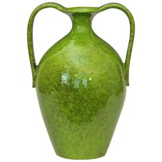 Vintage Italica Ars 1960's Italian Art Pottery Vase in Lime Green Glaze | From a unique collection of antique and modern vases and vessels at https://www.1stdibs.com/furniture/decorative-objects/vases-vessels/