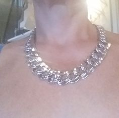 Vintage Monet Double  linked Silver Tone Necklace by AngelsAllAroundyou on Etsy