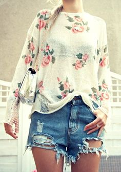 Roses & ripped jeans