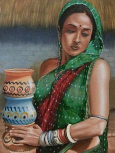 Sexy Painting, India Painting, Art Painting Gallery, Pot Still, Beautiful Girl Indian, Art School, Saatchi Art, Oil On Canvas, Original Paintings
