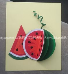 Summer paper crafts for kids Origami Butterfly Easy, Origami Flowers Tutorial, Kids Origami, Paper Crafts Origami, Paper Crafts For Kids, Arts And Crafts, Watermelon Crafts, Fruit Crafts, Circle Crafts